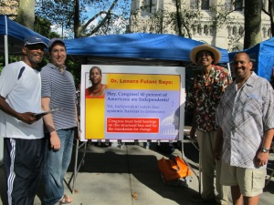 Independence Party activists at Harlem Week. Allen Cox (l), Howard Edelbaum, Dr. Jessie Fields and Tom Williams