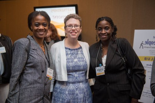 Natesha Oliver (r) with Cathy Stewart and Politics for the People member, Cheryl White (l) National Conference of Independents, NYC, March 2015